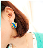 B230 oil fashion color block three-dimensional geometry metal stud earring