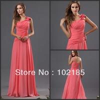 Fantastic A Line Single Shoulder Floor Length Chiffon Watermelon Bridesmaid Dress Free Shipping