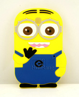 New 3D Cute cartoon Despise me minions tow eyes 7 inch Silicone soft cover Case for Samsung Galaxy Tab 3 P3200 free shipping 005