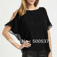 Free shipping fashion loose double layer ruffles design short-sleeve slash neck chiffon shirt plus size woens blouses w019