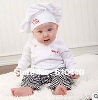 On sale!Kids boys infant romper cook chef boys romper set long-sleeved romper babies clothing cap+pant+tee baby clothing set