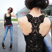 free shipping Back cutout 2013 slim sexy female basic shirt strapless sleeveless lace spaghetti strap y vest
