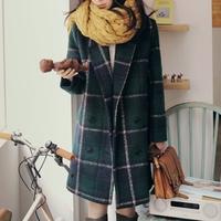 Free shopping new 2014 korean fashion winter coat women vintage green plaid wool coat elegant wool trench coat /NDY11