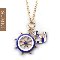 2014 new Fashion quality anchor navy style blue and white design long statement necklaces & pendants  vintage jewelry gifts cc