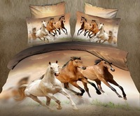 3D White brown horse galloping comforter bedding set queen comforters duvet quilt cover bed sheet bedspread oil painting