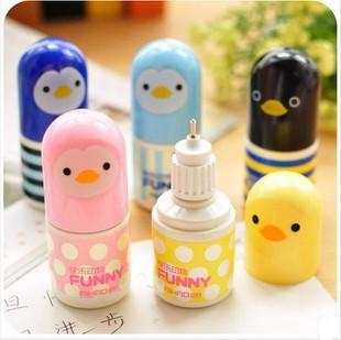 Free shipping / Happy adorable little yellow duck mini correction fluid / study stationary / wholesale 32pcs/lot(China (Mainland))