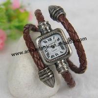 100pcs/lot fashion snake Women's Bangle leather Wrist Watch Quartz Dress Watches roman vintage wire style spirally watch