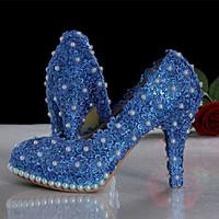 women pumps 2014 new arrival blue lace heels blue wedding shoes pearl lace bridal heels  pump