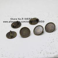 20pcs/lot Antique Bronze Metal Alloy Round 16mm Brooch Cabochon Settings Brooch Blanks 7107