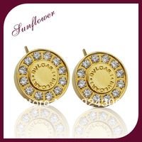 2014 Trendy Brand Earrings For Women 3 Colors 18K Gold/Platinum Plated Fashion with rhinestone Earrings Jewelry