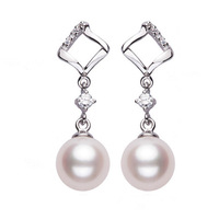 2014 New Brand Natural 100% Freshwater Pearls Genuine Silver Women Noble Rose In Titanic Wedding Jewelry Drop Earrings#PE022
