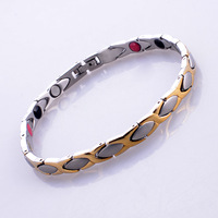 "Free Shipping Magnetic 316L Stainless Steel Bracelet With 3PCS Detachable Clasp Gold Plated For Men Women 8.5''-9.5"" TG025J"
