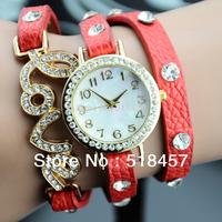Lady Women Love Design Band Drill Round Face  Analog Bracelet Watch