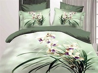 bright green Orchid bedding set queen size 100% cotton 4pcs bedspread flat sheet bed in a bag oil painting free shipping