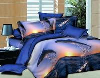 Hot New Beautiful 100% Cotton 4pcs Doona Duvet QUILT Cover Set bedding sets Full Queen size animal Surfing Dolphin