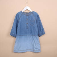 Free shipping !2014 spring new Korean fashion  lovely  casual round neck solid washed denim dress for girls