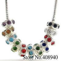 20PCS Mix Color Silver Plated Alloy+ Rhinestone Big Hole Charm Beads 5mm Fit Charms European Bracelet Free Shipping H007