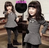 5pcs/lot new 2014 baby clothing girls long sleeve plaid dresses with necklace