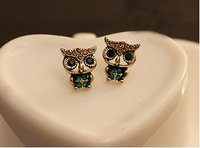 NEW! Fashion Lovely vintage rhinestone owl earrings !