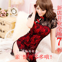Quality sexy double layer cheongsam novelty tight-fitting set bra princess short skirt