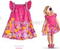 Retail 2014 new style girl princess dress Rapunzel dress pattern children's clothing free shipping
