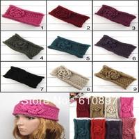 Wholesale Double-deck Flower Women Crochet Headband Fashion Curly Rim Knitted Headwraps girl hair accessories 20 pcs/ lot