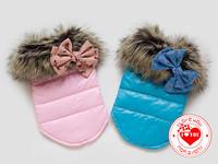 Gorgeous Big Collars & Bowknot Pet Dog Jacket Imitation Leather Yorkshire Terriers Dog Vest Clothing