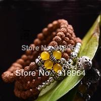 Chinese National Bodhi-CI Rudraksha Beads Bracelets Carved Tibet Silver Pendant Energy Healthy Lucky Buddha Bracelets D257