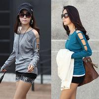 long sleeve chiffon shirt 2014 women blouses and tops 2014  long sleeve blouse women hollow out free shipping 012