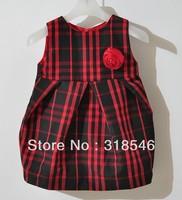 High quality Free shipping 5pcs/lot girls dress girls sleeveless plaid dress with flower girls brand clothing 1-6years