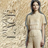 Fashion lace fabric embroidery cotton lace gauze cloth beige