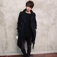 2014 Time-limited Real Korean Trench Coat Men Wool Winter Coats Male Outdoor Long Jacket Luxury Slim Fit Fur Collar Windbreaker