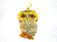 Diamond Owl U disk  Genuine Capacity USB Flash Drive, Heart Pen Driver, Gift USB Flash Disk, Jewelry USB flash drive