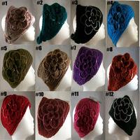 Wholesale 20 pcs/lot women knitted sequins headband flower Crochet Ear Warmer headwrap Free shipping