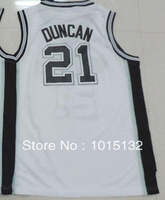 Tim Duncan Youth Jersey San Antonio #21 Black, White Sports Kids Basketball Shirts Free Shipping