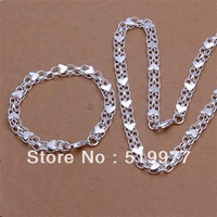 LJS343 promotion wholesale, hot sale charm 925 sterling silver jewellry set, fashion Bracelet Necklace Chain Jewelry Set
