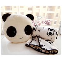 Super cute 30cm 1set soft creative big eye panda cushion + air condition blanket plush lovely children birthday gift stuffed toy