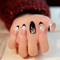 2014 New Arrival French glitter high quality false nail,beautiful diamond decor stiletto fake nails, 24 pcs,free shipping