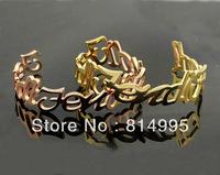 Min order $25(mix order) 2014 new arrival fashion titanium steel cuff hallow letter open bracelet,three color