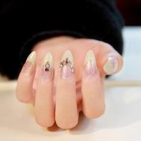 2014  New Arrival elegant party glitter gold diamond decor French style full cover stiletto fake nails,24 pcs,free shipping
