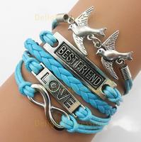 (Min Order $7) Infinity- Best Friend- Love- Birds Bracelet in Antique Silver Best Friendship Gift Jewelry Personalized Bracelet