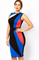 Free shipping!! New Sexy Plus Size Color Block Midi Bodycon Dress LC6214P- dress women