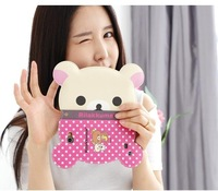 Free shipping Rilakkuma Bear Head fashion Leather Flip Wallet 3D Rilakkuma Bear CASE Cover for iphone 5s 5 Credit Card 2014 NEW