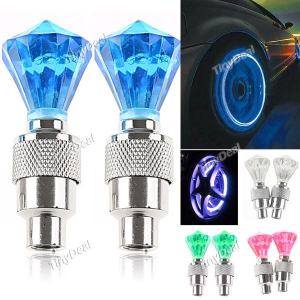 2 x Diamond Shaped Auto LED Valve Lamp Flashing Light Tyre Wheel Light for Car Bicycle Motorcycle(China (Mainland))