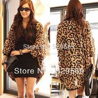 Free Shipping!Sexy Women Loose Sheer Chiffon Leopard Coat Shawl Asymmetric Long Tops Cardigan Cotton Blending Skirt Free Size