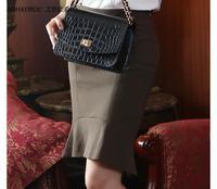 2014 New Arrival OL Elegant High Waist Ruffle Flare Bust Skirt Women Elegant Work Step Pencil Skirt