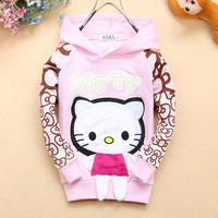 2014 new girls baby kids cotton hello kitty bowknot print hooded long sleeve fall t shirt, toddler child sweatshirts hoodies