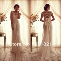 2014 Vintage Lace Tulle Wedding Dresses Sheer  Cap Sleeves Empire Backless Appliqued Court Train Bridal Wedding Gowns Dress