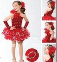 Fashion Baby toddler red fluffy tutu dress Baby girls Christmas dress dance wear Free shipping