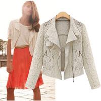 Free Shipping Lace Biker Jacket 2015 Autumn New Brand  Full Lace Outwear womenLeisure Casual Short Jacket LBR1619